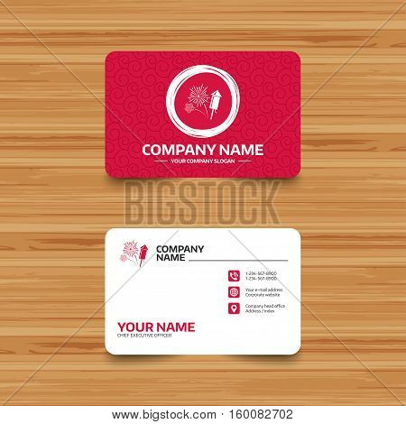 Business card template with texture. Fireworks with rocket sign icon. Explosive pyrotechnic symbol. Phone, web and location icons. Visiting card  Vector
