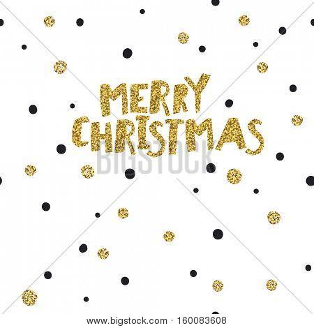Merry Christmas postcard. Christmas typography glitter gold. Polka dot pattern.