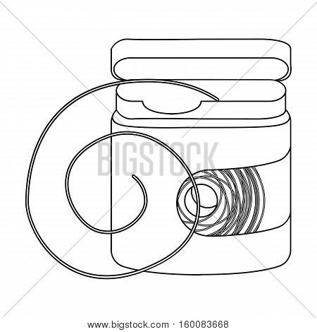 Dental floss icon in outline style isolated on white background. Dental care symbol vector illustration.