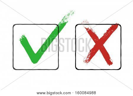 Grunge checkmarks in checkbox. Red and green.