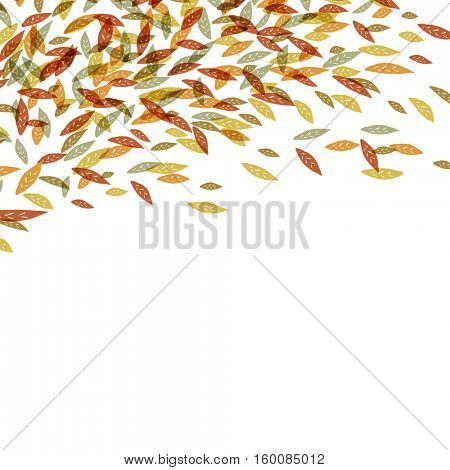 Autumn fallen leaves. Autumn fall illustration. For autumn and thanksgiving greeting cards designs. Hand drawn quirky illustration. Up edge composition with space for text