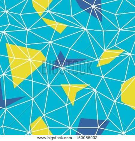 Triangles wire-frame seamless repeat pattern. Triangular facets. Wireframe Background Blue and Yellow Seamless Pattern.