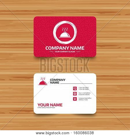 Business card template with texture. Food platter serving sign icon. Table setting in restaurant symbol. Hot warm meal. Phone, web and location icons. Visiting card  Vector