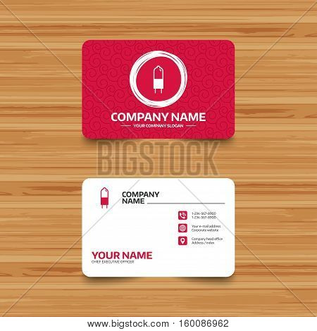 Business card template with texture. Light bulb icon. Lamp G4 socket symbol. Led or halogen light sign. Phone, web and location icons. Visiting card  Vector