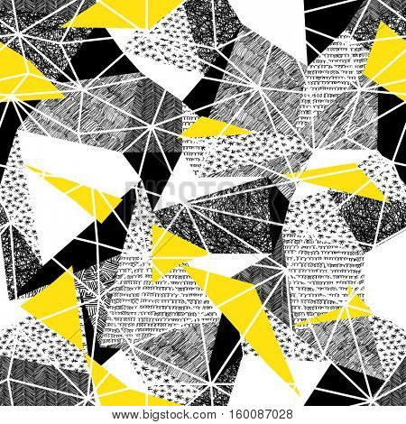 Geometric seamless pattern in retro style. Vintage background.Triangles and hand drawn patterns. Low poly seamless repeat pattern. Triangular facets. Black and Yellow Wireframe Background