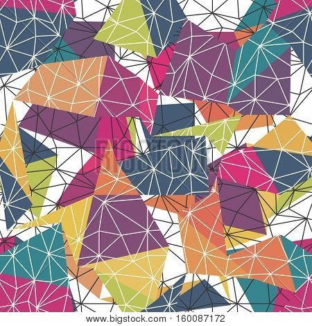 Low poly seamless repeat pattern. Triangular facets.  Colorful Wireframe Background
