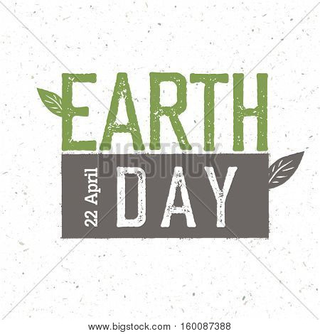 Grunge Earth Day Logo.