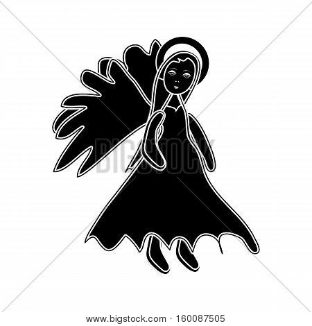 Christmas Angel Black Silhouette Icon Symbol Design. Vector Christmas Illustration Isolated On White