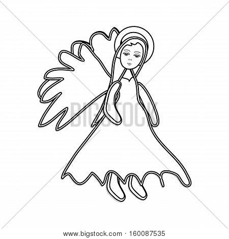 Christmas Angel Outline Icon Symbol Design. Vector Christmas Illustration Isolated On White Backgrou