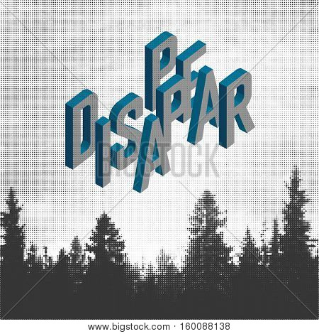 Disappear. Forest Adventures Outdoor Background Concept. Halftone forest background