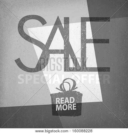 Sale Design Template on Film Noir Background