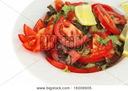 served vegetable tomato salad over white background