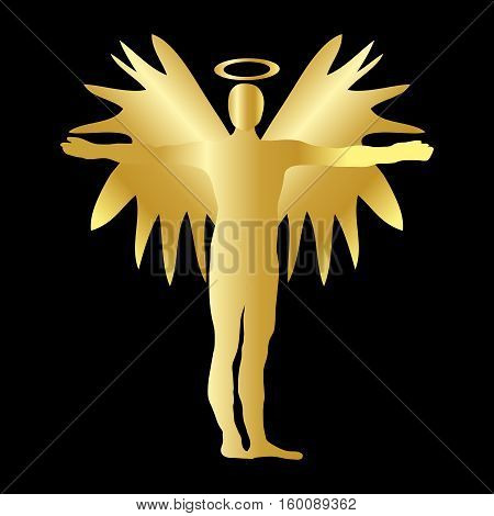 Christmas Angel Gold Icon Symbol Design. Vector Christmas Illustration Isolated On Black Background.