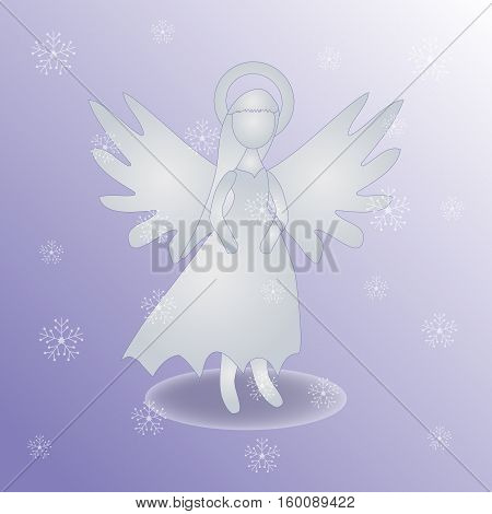 Christmas Angel Icon Symbol Design. Vector Christmas Illustration With Snowflakes. Angel Silhouette.