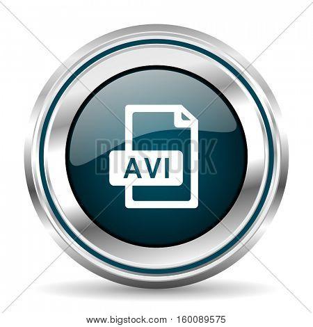 AVI vector icon. Chrome border round web button. Silver metallic pushbutton.