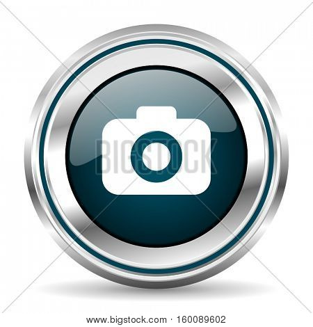 Photo camera vector icon. Chrome border round web button. Silver metallic pushbutton.