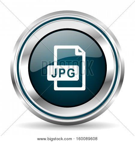 JPG vector icon. Chrome border round web button. Silver metallic pushbutton.