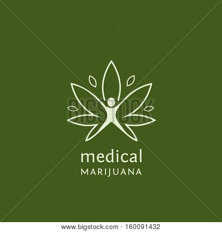Flat outline design of medical marijuana. Vector illustration concept for web design, labels, logo design.