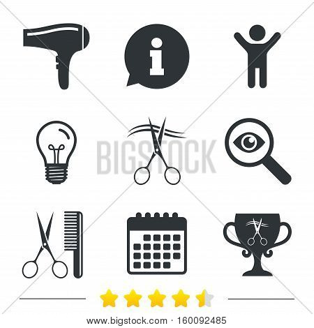 Hairdresser icons. Scissors cut hair symbol. Comb hair with hairdryer symbol. Barbershop winner award cup. Information, light bulb and calendar icons. Investigate magnifier. Vector