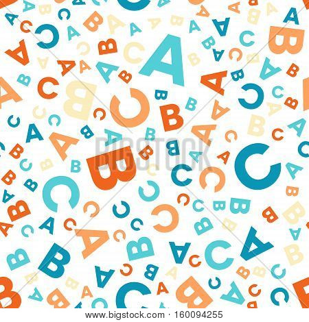 Seamless vector pattern - different letters ABC. Colorful school pattern for children. Multicolor background for kids.