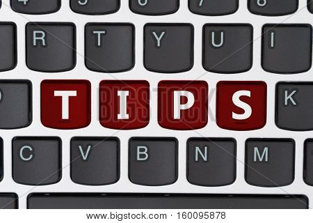 Searching for tips online A close-up of a keyboard with red highlighted text Tips
