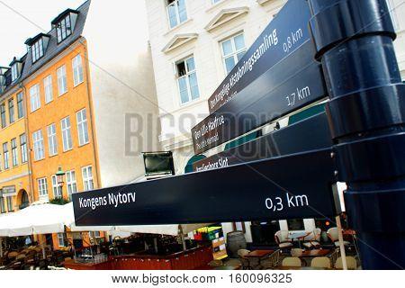 Nyhavn street sign at Nyhavn place Copenhagen Denmark.