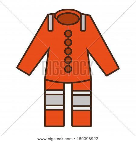 cartoon orange suit overall uniform worker protective design vector illustration eps 10