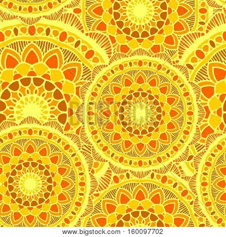 vector seamless pattern mandala sun yelow round ornament background