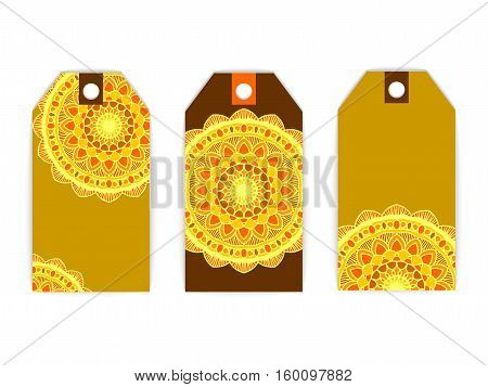 vector set tag invitation greeting card mandala sun brown yelow ethnic sing symbol