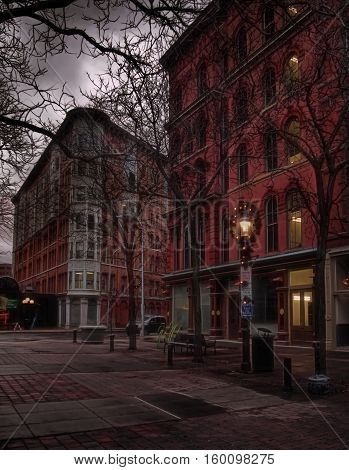 Hanover Square Syracuse New York at night