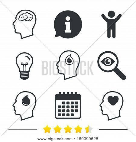 Head with brain icon. Male human think symbols. Blood drop donation sign. Love heart. Information, light bulb and calendar icons. Investigate magnifier. Vector