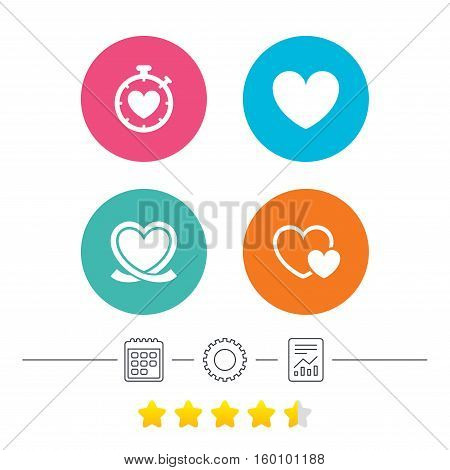 Heart ribbon icon. Timer stopwatch symbol. Love and Heartbeat palpitation signs. Calendar, cogwheel and report linear icons. Star vote ranking. Vector