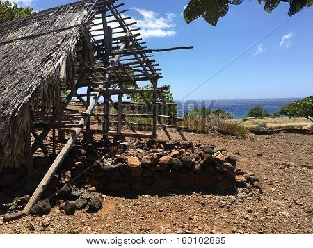 Historic Hawaiian Fishing Hut in Big Island Village