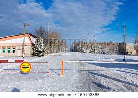 Chernobyl. Ukraine -- December 3. 2016. Checkpoint 30 kilometers of to Chernobyl.