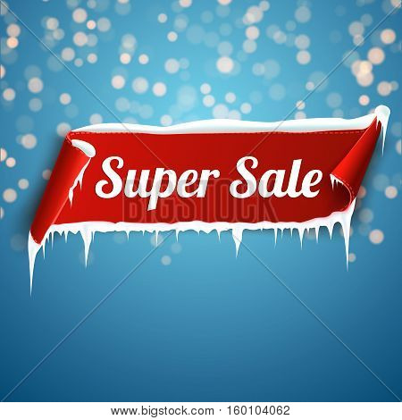 Super Sale Banner. Red curved ribbon isolated on blue background with bokeh. Vector illustration