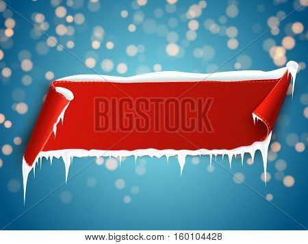 Red empty realistic curved paper banner with snow and icicles isolated on blue bokeh background. Vector illustration.
