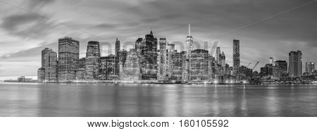 Panoramic view - Evening Lights of Famous Manhattan Skylines, New York City, USA - Black and White