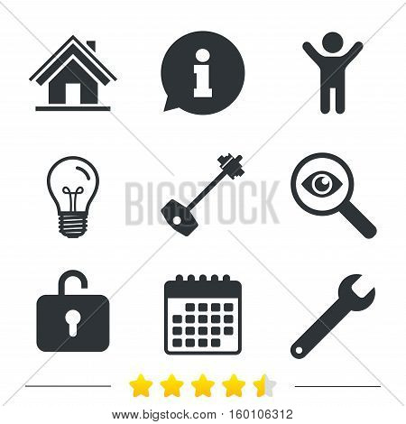 Home key icon. Wrench service tool symbol. Locker sign. Main page web navigation. Information, light bulb and calendar icons. Investigate magnifier. Vector