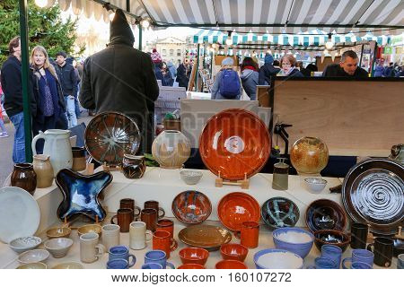 Broad Street Oxford United Kingdom December 04 2016: Arts and Crafts Market with open stalls on Broad Street stall with pottery Oxford.