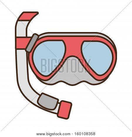 diving mask tube sea beach vector illustration eps 10