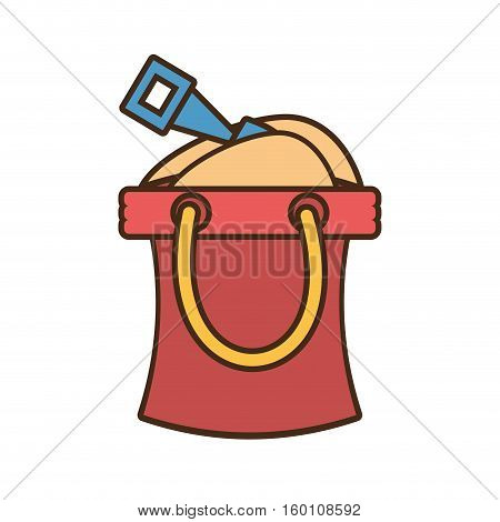 bucket sand shovel paly toy beach vector illustration eps 10