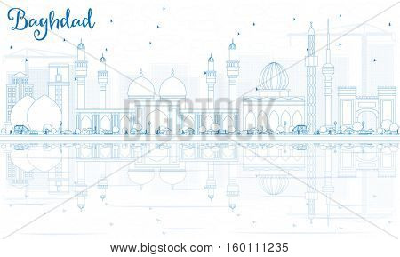 Outline Baghdad Skyline with Blue Buildings and Reflections. Business Travel and Tourism Concept with Historic Architecture. Image for Presentation Banner Placard and Web Site.