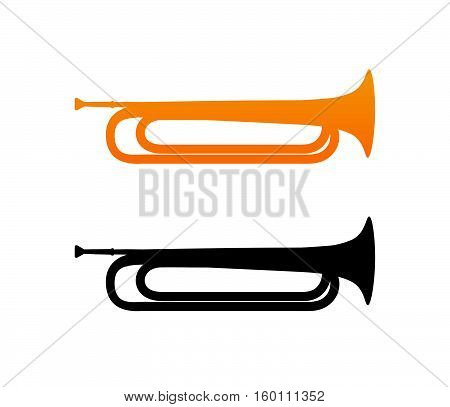 Golden Bugle Icon with Black Silhouette isolated on white background.