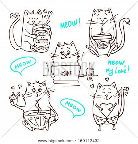 Set of cute cartoon hand drawn cats. Adorable vector clip art for your design. Isolated on wight.