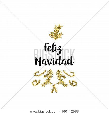 Christmas greeting card on white background with golden elements and text Feliz Navidad