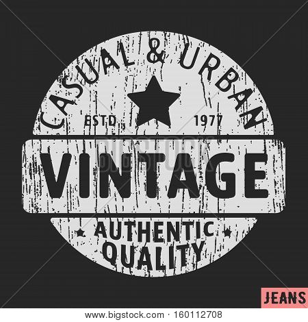 T-shirt print design. Casual and urban vintage stamp. Printing and badge applique label t-shirts jeans casual wear. Vector illustration.