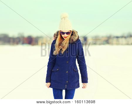 Fashion Pretty Blonde Woman Wearing Jacket And Hat In Winter Day