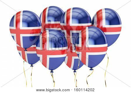 Balloons with flag of Iceland holyday concept. 3D rendering isolated on white background