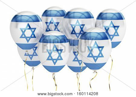 Balloons with flag of Israel holyday concept. 3D rendering isolated on white background