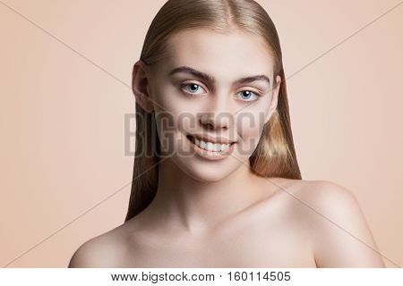 Close-up Portrait Of A Young Attractive Woman With Beautiful Makeup. Blond Hair, Blue Eyes, Beautifu